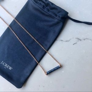 J. Crew Rose Gold & Navy Stone Necklace